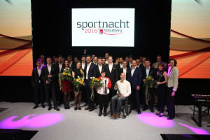 DORNBIRN,AUSTRIA,31.MAR.16 - VARIOUS SPORTS - Vorarlberger Sportnacht. Image shows all winners with governor Markus Wallner (Vorarlberg) and Marc Giradelli. Photo: GEPA pictures/ Andreas Pranter